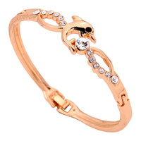 Wholesale Yazilind Jewelry Fashion Jewelry Dolphin Shape Cute Design K Yellow Gold Crystal Bangle Bracelet