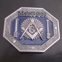 western belt buckles - Drop shipping Mason symbol Western belt buckle Masonic Square and Compasses G buckle