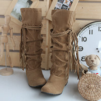Wholesale Autumn Women Boots Tassel Knee High Boots Wedges Winter Shoes Woman New Arrival WHB