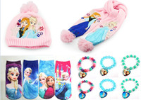 Wholesale 2014 Hot children jewelry Frozen suit bracelet scarf hat socks Anna charm bracelets Ice snow kids clothing socks sets J