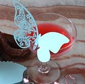 Free Shipping Wholesale -12pcs Blue Butterfly Paper Place Card   Escort Card   Cup Card  Wine Glass Card Paper for Wedding Par Wedding Favor