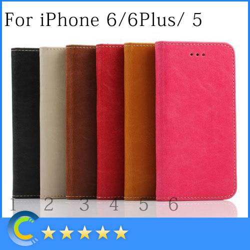 Buy iphone 6 case 6plus Retro Leather wallet cover cases card slot Back Stand Flip cell phone Case Cover