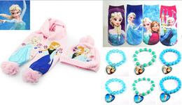Wholesale Hot style children jewelry Frozen suit bracelet scarf hat socks Anna charm bracelets Ice snow kids clothing socks sets