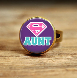 Wholesale R17 Super Aunt cameo bronze Superman rings Glass Dome Art Picture Handcrafted Jewelry adjustable ring for girls