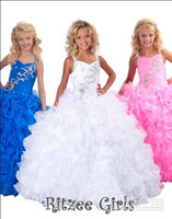 Wholesale 2014 Crystal Girl s Pageant Gowns Ball Gown Halter Floor Length Organza Beaded Ruffles Blue Flower Girl Dresses