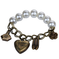 Cheap Nice Cream Faux Pearl Chain Heart Flower Shoe Perfume Vase Bangle Bracelet Lady
