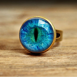 Wholesale R26 Vintage glass Cat Eye Ring Art Picture bronze and silver Adjustable Ring Handmade Jewelry
