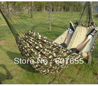 Cheap 200*150cm two people Hammock Camping Camp Canvas Outdoor Leisure Fabric Stripes Hammock swing +lifting rope free shipping