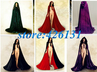 Wholesale Royal Wedding Gothic Purple Red Green Black Velvet Cloak Cape Wicca Party vinly clothing Little Red Riding Hood