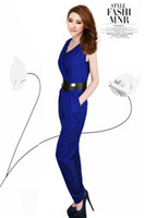 Cheap Hot Helling Spring Summer Women Fashion Sexy Club Jumpsuit V-neck Vintage High Waist Sleeveless With the belts clothes