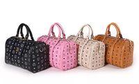 Wholesale 2014 Authentic MCM Duffel Bag Man Women Korean Stylish Leather Travel Daily Cylinder handbag shoulder bag Messenger bag