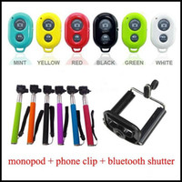 Wholesale Cheapest in1 set bluetooth remote shutter handheld monopod phone holder for selfie iphone4 s s samsung galaxy s3 s4 s5 note