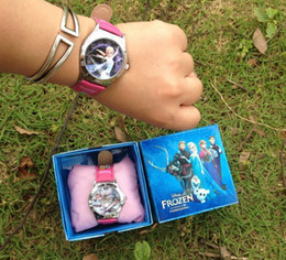 Wholesale Frozen Watch Kids Fashion Anna Elsa Watch Gift Quartz Cartoon Jelly Candy Led With Box Cute Lovely Girl Woman Lady Kids Birthday