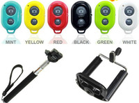 Wholesale Top Extendable Handheld Self portrait Monopod selfie stick Photograph Bluetooth Shutter Camera Remote Controller for iPhone Samsung