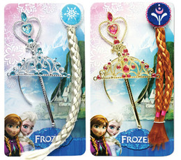 Frozen Princess elsa anna synthetic clip-in hair extension wig hairpiece cabelo periwig + crown + magic wand cosplay party 3 pieces set