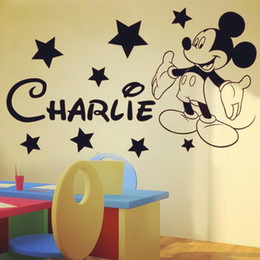 Wholesale Personalised Mickey Mouse Cartoon Character Wall Sticker Custom made Any Name Decal Decoration Kids Room Home Decor