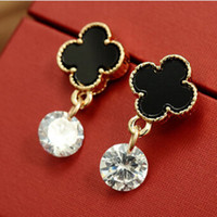 Cheap Wholesale 2014 New novelty items 18K Gold Plated Brincos Clover Stud Earrings for women gift boucle d'oreille XY-E664