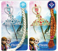 Wholesale High quality Frozen Elsa Anna Ornaments Magic Wand Rhinestone Crown Hairpiece Girls Wig Children Party Accessories popular gift
