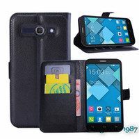 Wholesale Mobile Phone Bag Cover Case with Card holder Leather Wallet Style Stand Case For Alcatel One Touch POP C9 D A OT7047 TCL J920