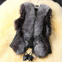 Wholesale S XXXL Winter New Design Nature Genuine Silver Fox Fur Vest Women PU Leather Winter Coat Jacket Women C5206