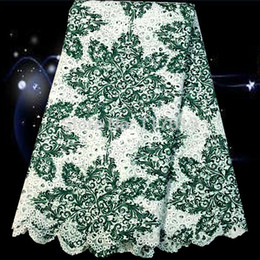 Wholesale yards SLF57 Popular White grass green Guipure lace fabric for dress African style lace fabric