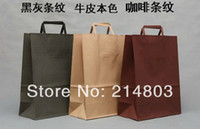 Cheap W25xH33xD12cm classical stripe kraft paper shopping bags with handles ,free shipping by DHL,FedEx or UPS