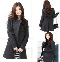 Wholesale Woman Coat down parkas Fashion Women s casacos femininos Slim Wool blended Double breasted Coat Winter mlz jacket