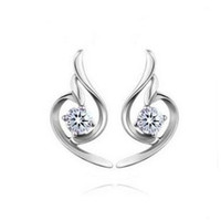 Wholesale Real Sterling Silver Platinum Plated crystal Stud Earrings fine Jewelry SSE038