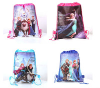 Wholesale Hot sell Frozen drawstring Bag bags Anna Elsa backpacks kid shopping bags