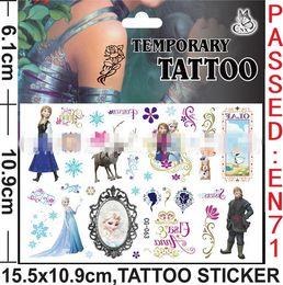 Transfert d'eau autocollants de tatouage à vendre-Sticker Tatouages Jouets pour enfants Body Cartoon Frozen Elsa Anna Olaf Eau Cristal Mode Transfert Tatouage Autocollants 5pcs / Lot
