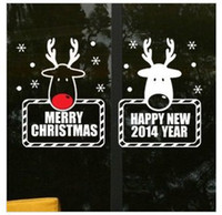 Cheap 2 deer wall stickers Christmas decorated shop storefront glass window door sticker decals