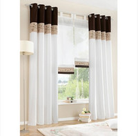 Wholesale 2014 Bamboo Fabric Embroidered Patchwork Curtain Stitching Colors High Quality Modern Curtain ONLY ONE PIECE Free Ship ZHT053