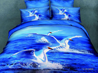 Cheap 3D Blue swan lake 7 desiger bedding set queen size duvet cover bedspread bed in a bag sheet quilt linen 100% cotton oil painting