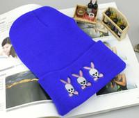 Wholesale Korea new winter wind Harajuku cute little bunny skull bead knitting warm wool hat hip hop trend