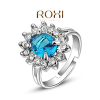 Wholesale white Gold Plated Luxury Sapphire Blue Topaz women Bridal Ring wedding Jewelry AN