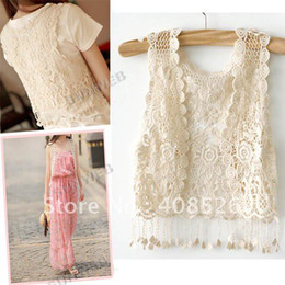 Wholesale Fashion Lady Girl s Vintage Summer See Through Crochet Sexy Tank Cape Waistcoat Vest Tops