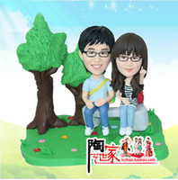 Cheap 2014 new product custom wedding gifts cake topper from your photos with polymer clay can be keep forever best gift for friend