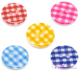 Wholesale 100PCs Mixed Plaid Gingham Holes Round Resin Sewing Buttons mm quot B19098