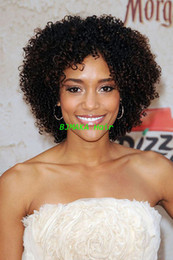 Peruvian Afro Kinky Curly Human Hair Short Wigs Natural Hairline Glueless Full Lace Wigs For African Americans Free Shipping