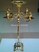 Wholesale hot selling cm Gold finish candelabra with flower bowl arms weddings event candle holder centerpiece candelabrum