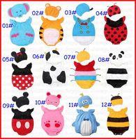 Unisex Cartoon  baby animal one-piece romper with hats Baby boys girls cartoon romper newborn infants kids costume clothing baby jumpsuits bodysuits melee