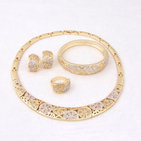 vintage costume jewelry - New Style Top Quality African Costume Necklace Jewelry Sets Vintage Gold Plated Necklace Fashion Rhinestone Wedding Bridal Jewelry sets