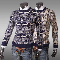 Cheap new 2014 fahion winter warm wool knitted mens ugly christmas deer sweater crewneck long sleeve