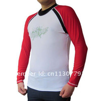 Wholesale BONZ Men s Long Sleeve Sport Fit Surf Shirt UV Protection Rashguard Raglan Athletic Sports under inner Surf Scuba Dive T shirt Lycra Shirt