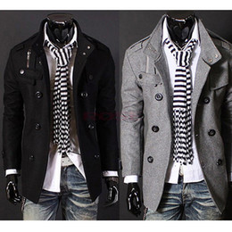 Wholesale 2014 c s Gray Slim Hot Stylish Woolen Jacket Double Pea Trench Coat Fashion Jackets