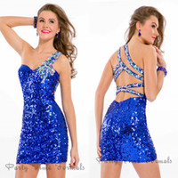 Cheap Fashion New Royale Blue Black Fuchsia One Shoulder Sequins Cocktail With Crystal Cheap Mini Sexy Party Dress 2015 Short Prom Gowns