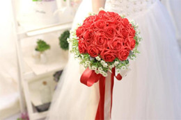 Wholesale 2015 New Fashion Wedding Girls Bouquet Luxury Red Rose Wedding Accessories Beridal Romantique Stock Wedding Handmade Bouquet Custom YDD