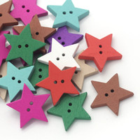 """Cheap Wholesale 100PCs Wood Buttons Sewing Scrapbooking Star Shaped Mixed 24mmx23mm(1""""x7 8"""") Free Shipping"""