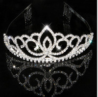 Cheap Wedding Bridal Tiara Rhinestone Silver Crystal Crown Pageant Prom Veil Headband