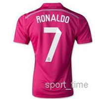 Wholesale Reals Madrid Away Pink Soccer Jerseys Ronaldo Jerseys Top Thai Quality Soccer Uniform Kits Football Shirts Spain LA L